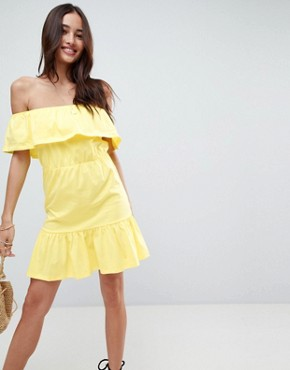 photo Off Shoulder Sundress with Tiered Skirt by ASOS, color Lemon Yellow - Image 1