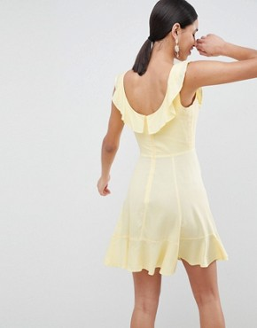photo Mini Ruffle Skater Dress by ASOS, color Lemon - Image 2