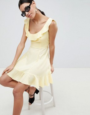 photo Mini Ruffle Skater Dress by ASOS, color Lemon - Image 1