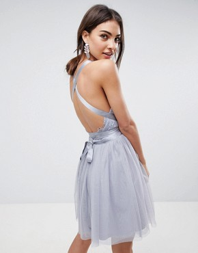 photo Lace Top Tulle Mini Prom Dress with Ribbon Ties by ASOS PREMIUM, color Grey - Image 2