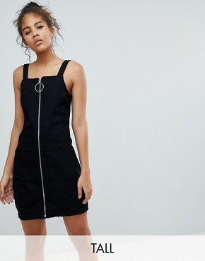 photo Circle Puller Zip Up Denim Pinafore Dress by Chorus Tall, color Worn Black - Image 1