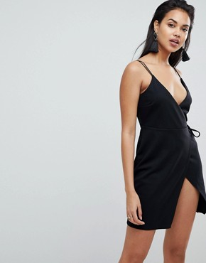 photo Scuba Cami Wrap Mini Dress by ASOS, color Black - Image 1