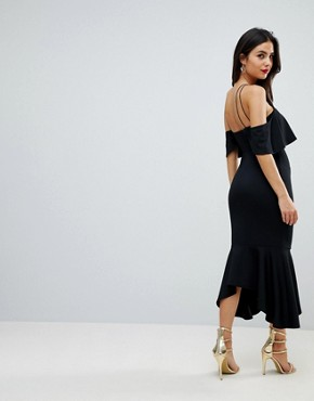photo Ruffle Cold Shoulder Asymmetric Pephem Midi Dress by ASOS, color Black - Image 2