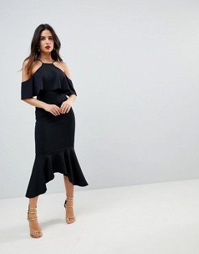 photo Ruffle Cold Shoulder Asymmetric Pephem Midi Dress by ASOS, color Black - Image 1