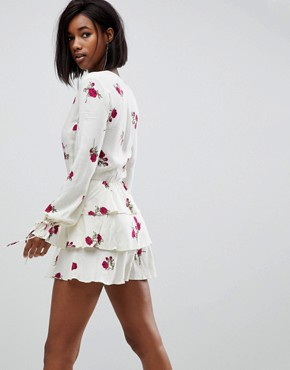 photo Plunge Front Tea Dress in Cloudy Floral by Motel, color Grunge Rose Ivory - Image 2