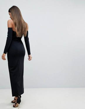 photo Bardot Scuba Maxi Dress with Thigh Split by ASOS, color Black - Image 2