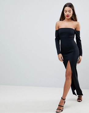 photo Bardot Scuba Maxi Dress with Thigh Split by ASOS, color Black - Image 1
