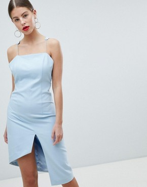 photo Peace and Love Low Back Cami Strap Dress by Missguided, color Powder Blue - Image 2