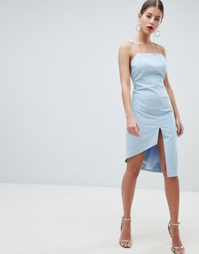 photo Peace and Love Low Back Cami Strap Dress by Missguided, color Powder Blue - Image 4