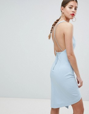 photo Peace and Love Low Back Cami Strap Dress by Missguided, color Powder Blue - Image 1