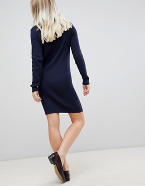 photo Mila Fine Rib Knit Dress by Blend She, color Peacoat - Image 2