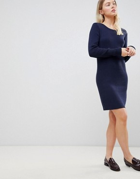 photo Mila Fine Rib Knit Dress by Blend She, color Peacoat - Image 1