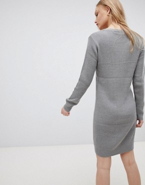 photo Mila Fine Rib Knit Dress by Blend She, color Light Grey Melange - Image 2