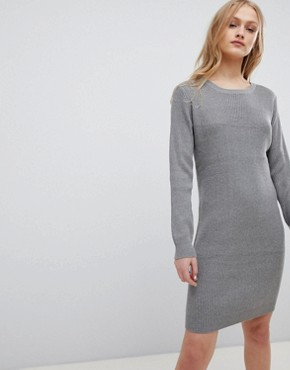 photo Mila Fine Rib Knit Dress by Blend She, color Light Grey Melange - Image 1