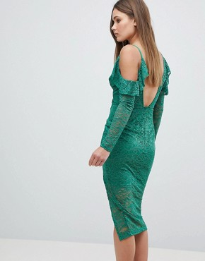 photo Cold Shoulder Lace Plunge Midi Dress by ASOS, color Green - Image 2