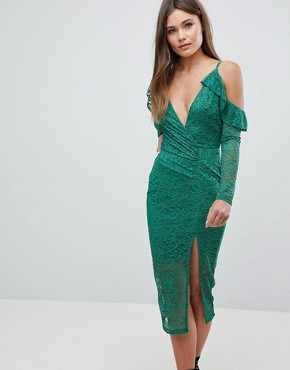 photo Cold Shoulder Lace Plunge Midi Dress by ASOS, color Green - Image 1