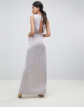 photo Bridesmaid Pearl Trim Twist Front Maxi Dress by ASOS DESIGN Tall, color Grey - Image 2