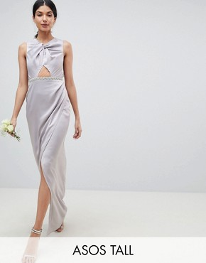 photo Bridesmaid Pearl Trim Twist Front Maxi Dress by ASOS DESIGN Tall, color Grey - Image 1