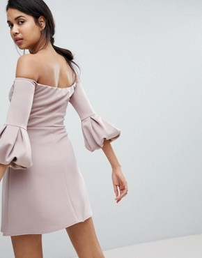 photo Bardot Off the Shoulder Balloon Sleeve Shift Dress by ASOS, color Mink - Image 2