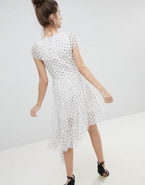 photo Mono Polka Dot Plunge Tulle High Low Mini Dress by ASOS DESIGN, color Multi - Image 2