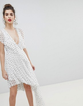 photo Mono Polka Dot Plunge Tulle High Low Mini Dress by ASOS DESIGN, color Multi - Image 1