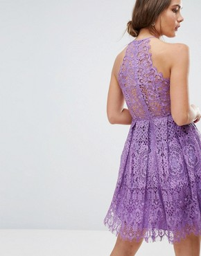 photo Pinny Prom Mini Dress in Lace by ASOS, color Purple - Image 2