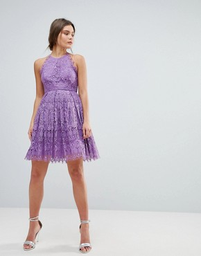 photo Pinny Prom Mini Dress in Lace by ASOS, color Purple - Image 1