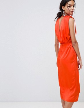 photo Satin Sleeveless Midi Dress by ASOS DESIGN, color Hot Red - Image 2