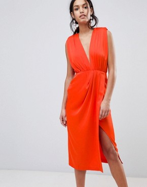 photo Satin Sleeveless Midi Dress by ASOS DESIGN, color Hot Red - Image 1