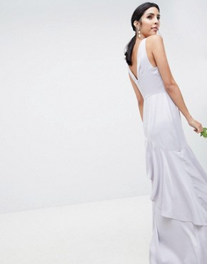 photo Bridesmaid Pearl Trim Strap Maxi Dress with Ruffle Skirt by ASOS DESIGN, color Mink - Image 2