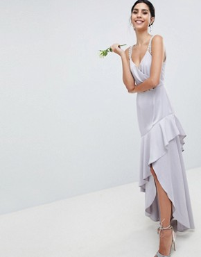 photo Bridesmaid Pearl Trim Strap Maxi Dress with Ruffle Skirt by ASOS DESIGN, color Mink - Image 1