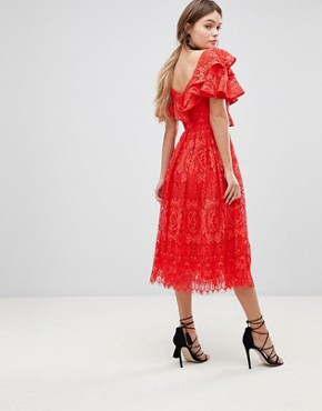 photo Ruffle One Shoulder Lace Prom Dress by ASOS, color Red - Image 2