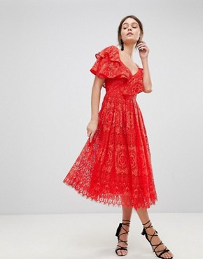 photo Ruffle One Shoulder Lace Prom Dress by ASOS, color Red - Image 1