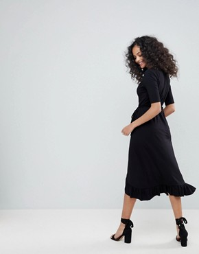 photo Wrap Front Midi Tea Dress with Frill by ASOS, color Black - Image 2