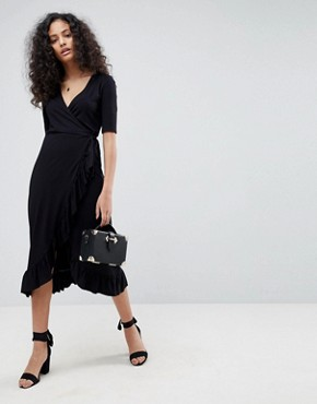 photo Wrap Front Midi Tea Dress with Frill by ASOS, color Black - Image 1