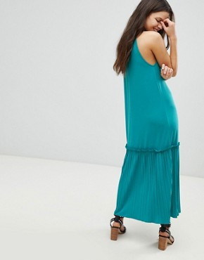 photo High Neck Maxi Sundress with Pleated Hem by ASOS, color Turquoise - Image 2