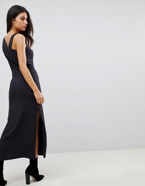 photo One Shoulder Rib Maxi Dress by ASOS, color Black - Image 2
