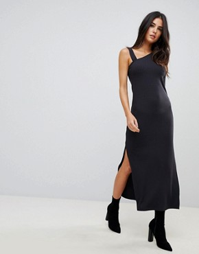 photo One Shoulder Rib Maxi Dress by ASOS, color Black - Image 1