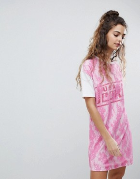 photo t-shirt Dress with Lace Overlay by ASOS DESIGN, color White/Pink - Image 1