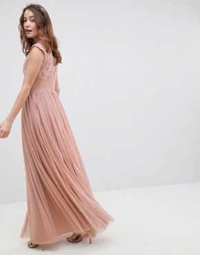 photo Bridesmaid Embroidered Mesh Maxi Dress by ASOS DESIGN, color Dusty Pink - Image 2