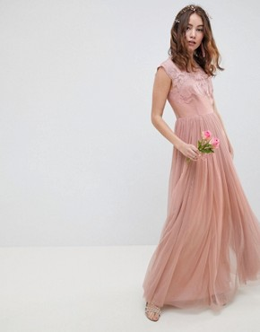 photo Bridesmaid Embroidered Mesh Maxi Dress by ASOS DESIGN, color Dusty Pink - Image 1