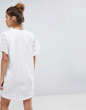 photo t-shirt Dress with Broderie Sleeves by ASOS DESIGN, color White - Image 2