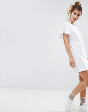photo t-shirt Dress with Broderie Sleeves by ASOS DESIGN, color White - Image 1