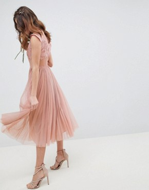 photo Bridesmaid Embroidered Mesh Midi Dress by ASOS DESIGN, color Dusty Pink - Image 2