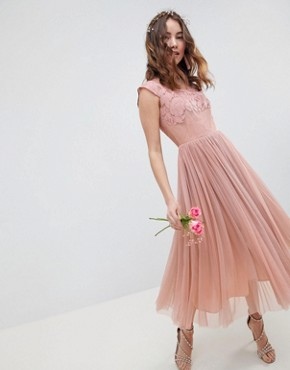 photo Bridesmaid Embroidered Mesh Midi Dress by ASOS DESIGN, color Dusty Pink - Image 1