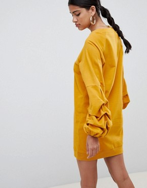 photo Tuck Sleeve Sweat Dress by ASOS DESIGN, color Mustard - Image 2