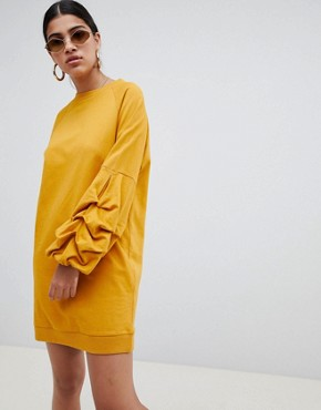 photo Tuck Sleeve Sweat Dress by ASOS DESIGN, color Mustard - Image 1