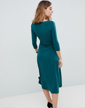 photo Crepe Wrap Midi Dress by ASOS PETITE, color Emerald Green - Image 2