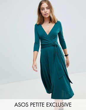 photo Crepe Wrap Midi Dress by ASOS PETITE, color Emerald Green - Image 1