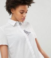 photo Shirt Dress with Embroidered Cat by Paul & Joe Sister, color White - Image 3